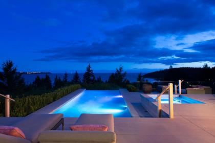 Swimming Pool and Hot Tub Area at 4112 Burkehill Road, Bayridge, West Vancouver